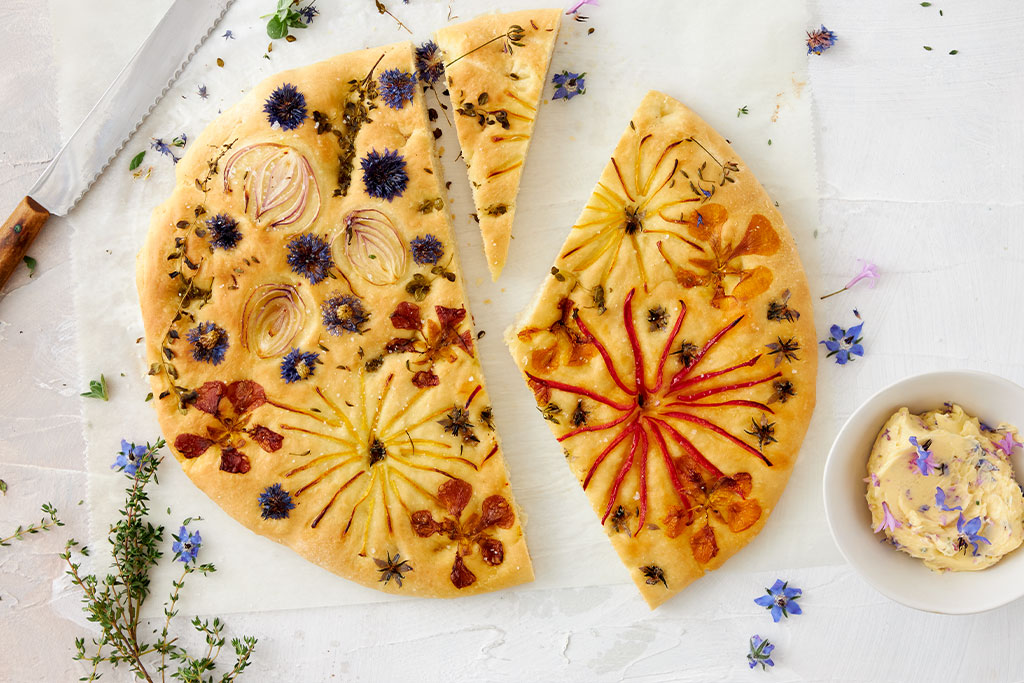 Blüten-Brot mit Blüten-Butter