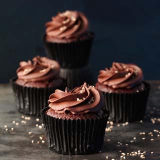 Schokolade-Cupcakes mit Sesam